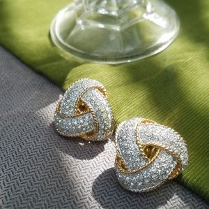Vintage gold and diamonds clip-on earrings
